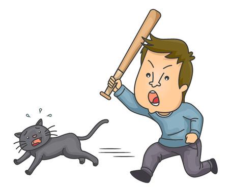 Illustration mettant en vedette un jeune homme en colère, chassant un chat terrifié avec une chauve-souris Banque d'images - 89444657