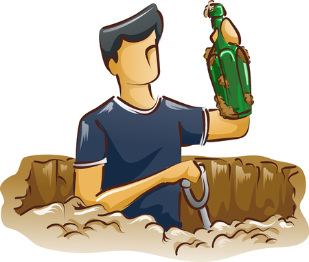 Sketchy Illustration Featuring a Man Showing an Antique Bottle He Found After Digging the Ground