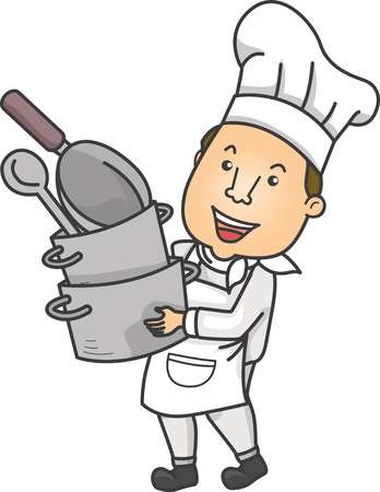 Colorful Illustration Featuring a Chef Carrying a Tall Stack of Cookware Фото со стока