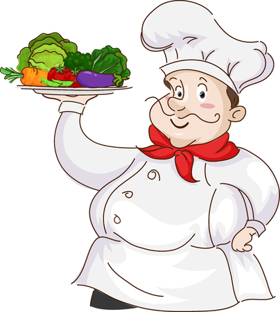 Illustration Featuring a Man Dressed as a Chef Carrying a Platter Full of Fresh Fruits and Vegetables