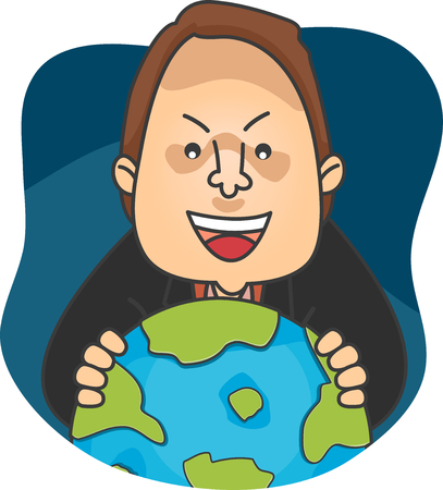 Illustration Featuring an Evil Man Laughing Maniacally as He Spins a Globe Stock Photo