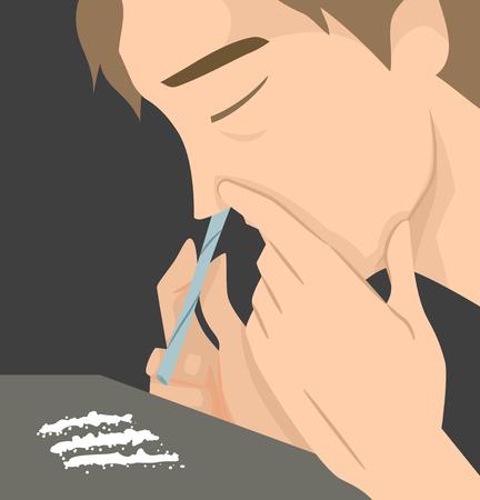Illustration mettant en vedette un homme qui utilise un rouleau de papier pour sniffer des lignes de cocaïne Banque d'images - 89444736