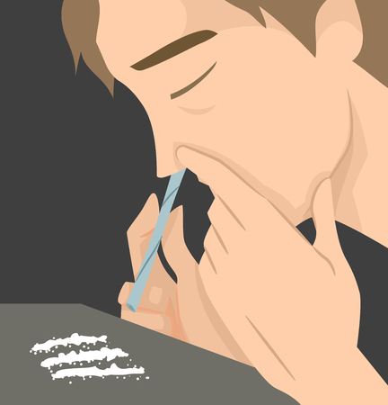 Illustration Featuring a Man Using a Roll of Paper to Snort Lines of Cocaine Stock Photo