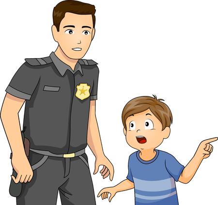 Illustratie van een jongetje dat een misdaad meldt bij een politieofficier met uniform