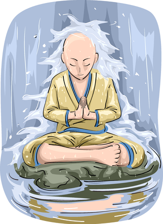 Illustration Featuring a Buddhist With a Shaved Head Meditating Under a Waterfall Stock Photo