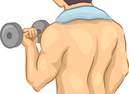 muscle gain: Back View Illustration Featuring a Muscular Man Lifting a Dumbbell