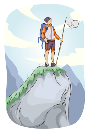 Illustration Featuring a Male Mountain Climber Placing a Flag on Top of a Mountain