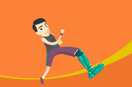 Illustration Featuring a Man in an Athletics Competition Running With an Artificial Leg Stock Photo