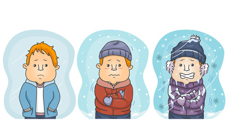 Illustration Featuring Three Men Showing the Difference Between Cold, Colder, and Coldest