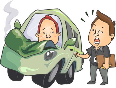Illustratie die een drijfinstructeur kenmerkt die Zijn Student berispt nadat hij de Auto verpletterde