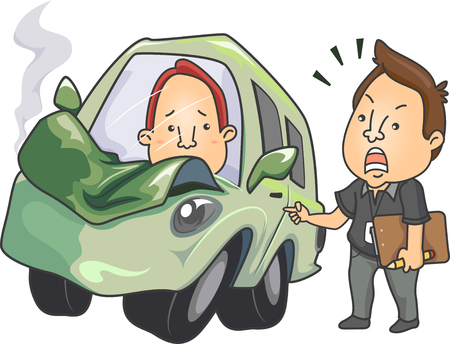 Illustration Featuring a Driving Instructor Scolding His Student After He Crashed the Car Stock Photo