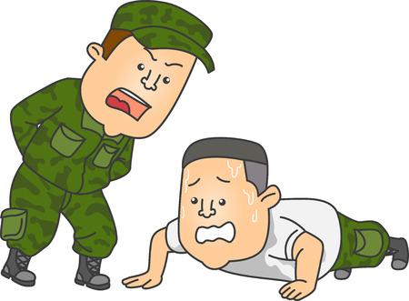 Afbeelding met een officier in uniform die een kadet bestelt om push-ups als straf uit te voeren
