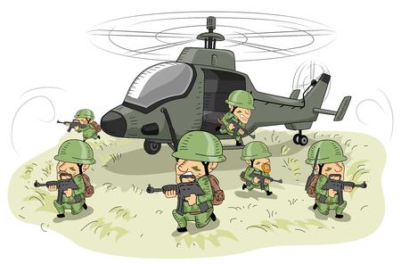 Illustratie met soldaten in uniform nemen van defensieve posities rond een aanvalshelikopter