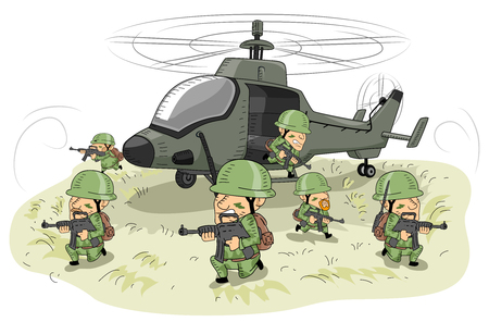 Illustration Featuring Soldiers in Uniform Taking Defensive Positions Around an Attack Helicopter