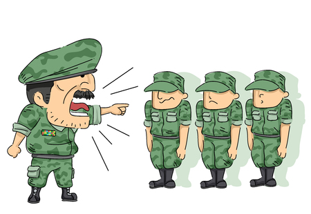 Illustration Featuring Soldiers in Full Military Uniform Being Scolded by an Officer Stock Illustration - 89444817