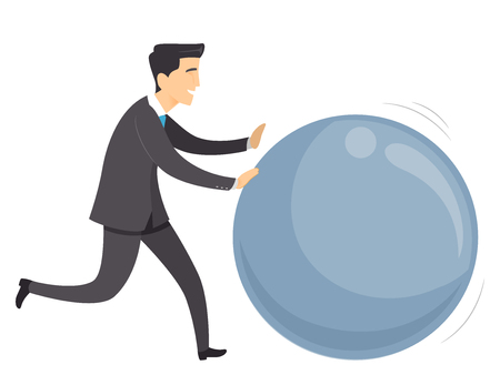 Illustration of a Man Rolling a Huge Ball. Get the Ball Rolling Idiom