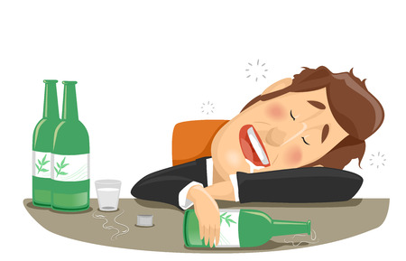 Illustration of a Drunk Businessman Who Finished Bottles of Soju Stock Photo