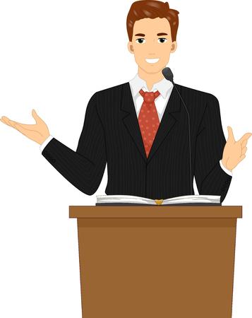 Ilustración de un pastor detrás de un atril predicando