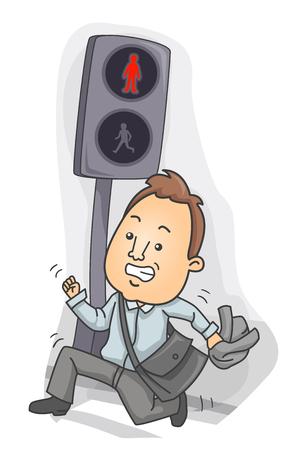 Ilustración de un hombre corriendo y cruzando la calle con una señal de Stop. Jaywalking Foto de archivo