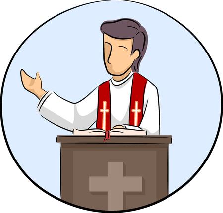 미사 아이콘 동안 설교하는 성직자의 삽화 스톡 콘텐츠