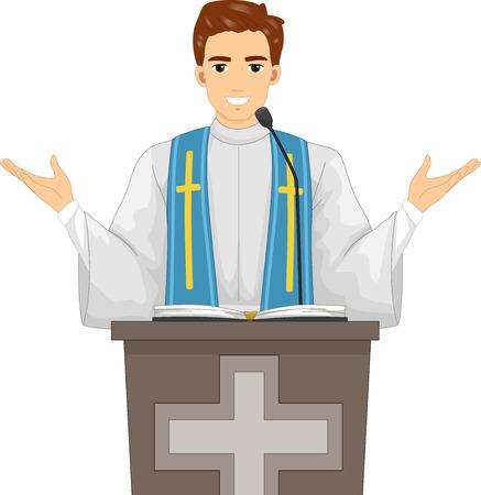 미사 동안 설교하는 성직자의 삽화 스톡 콘텐츠