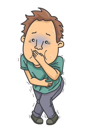 Illustration of a Man with Upset Stomach, Indigestion, Holding His Vomit In Stock Photo