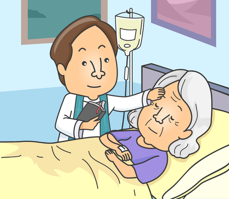 Illustration of a Priest Anointing a Sick Senior in the Hospital