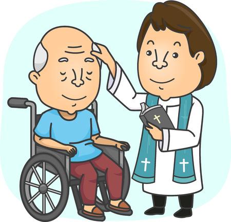 Illustratie van een priester met een bijbel die een zieke oudste zingt die in zijn rolstoel zit