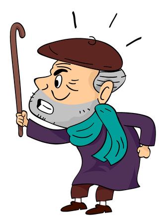 Illustratie van een Angry Senior Man Holding zijn Walking Cane Up