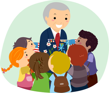 Illustration of a Senior Military Veteran with Badges Surrounded by Kids