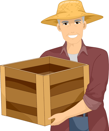 Illustration of a Senior Man Farmer Carrying an Empty Wooden Crate Фото со стока