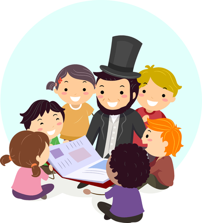 Illustration of Stickman Kids Listening to a Man Wearing Abraham Lincoln Costume Read a Book