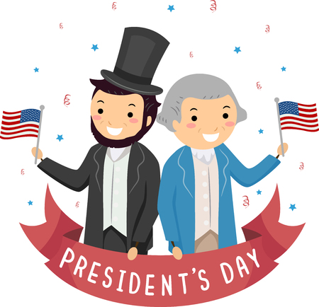 Illustration of Men Wearing Lincoln and Washington Costume Waving US Flag for Presidents Day