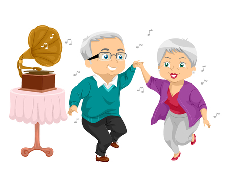 Illustration of a Senior Couple Dancing while Listening to Music Played by a Gramophone