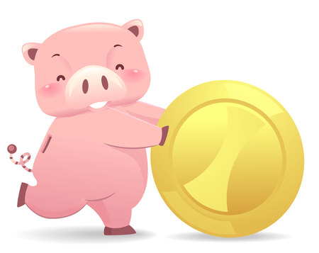 Illustration of a Piggy Bank Robot Rolling a Big Gold Coin