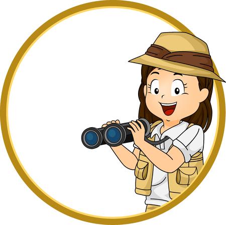 Illustration of a Kid Girl Explorer in Costume and Holding Binoculars Frame Stock Photo