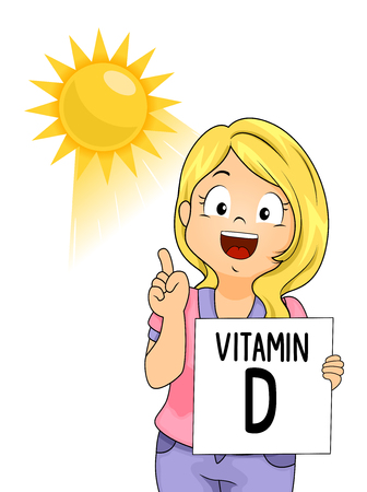 Illustration of a Kid Girl Pointing to the Sun and Holding a Vitamin D Flash Card