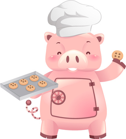 Illustration of a Piggy Bank Robot Holding a Freshly Baked Tray of Cookies