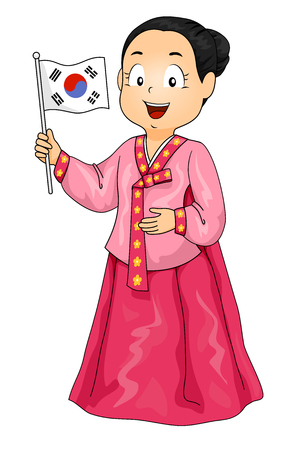 Illustration of a Kid Girl Wearing a Hanbok and Holding a Korean Flag