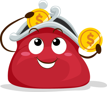 Illustration of a Red Coin Purse Mascot Placing a Coin Inside It