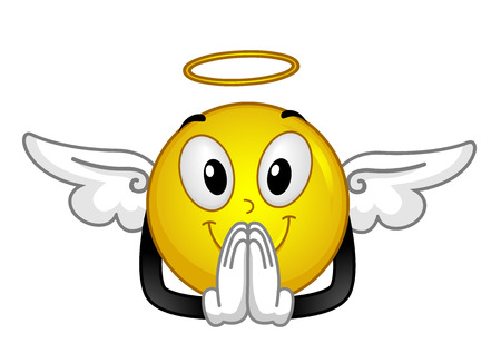 Illustration of an Angel Smiley with a Halo and Wings Praying Stock Photo