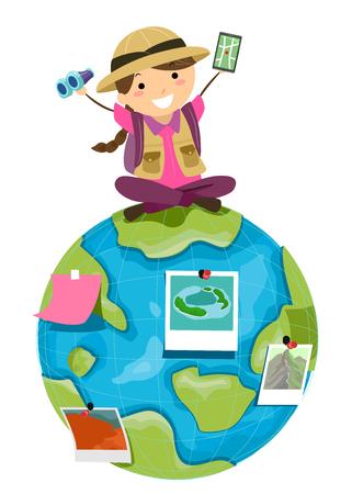Illustratie van een Stickman Kid Girl Explorer bovenop de wereld met mobiele navigator en verrekijker Stockfoto