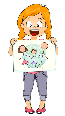 Illustration of a Kid Girl Presenting her Drawing About Her Family and the World
