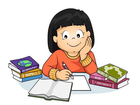 いる子供の女の子のイラストを彼女の宿題や地理について学ぶ