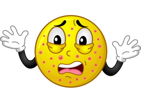 Illustration of a Shocked Smiley Mascot with Chickenpox Stock Photo