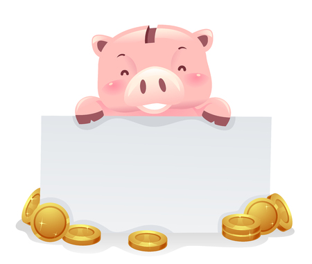 Illustration of a Piggy Bank Robot Holding a Blank Board with Gold Coins