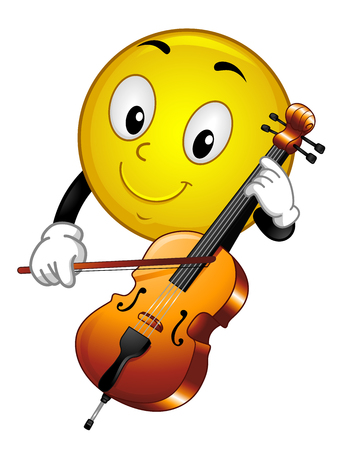 Illustration of a Smiley Mascot Playing a Musical Instrument  Cello