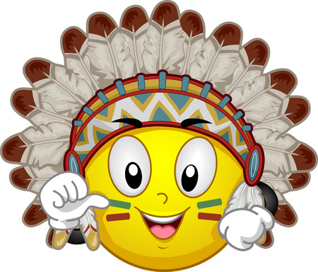 Illustration of a Smiley Mascot Wearing an Indian Chief Headdress Introducing Himself