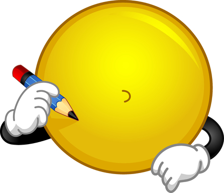 Illustration of a Smiley Mascot Holding a Pencil Trying to Draw Its Current Emotion