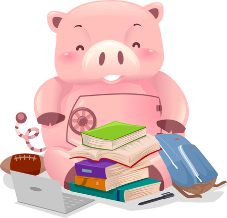 Illustration of a Piggy Bank Robot with College Elements from Laptop to Books and Football
